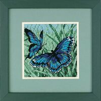 Dimensions D07183 Mini Kit 12 Mesh Canvas Blue Butterfly Duo Tapestry Kit 13cm
