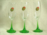 THREE (3) CLEAR WINE/MARTINI GLASSES w. OLIVE (DECAL) & GREEN STEMS