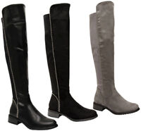 Ladies Women Block Heel Studded Stretch Calf Over The Knee High Boots Shoes Size