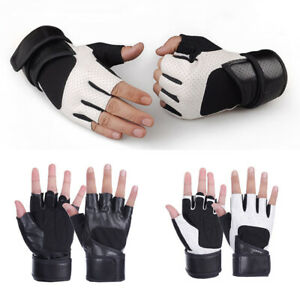 Leather Cycling Gloves Bike Bicycle MTB BMX Road Riding Racing Sports Fingerless