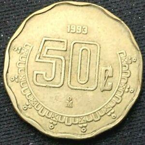 1993 Mexico 50 Centavos Coin  XF+   Aluminum Bronze Coin       #K276