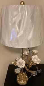 Nicole Miller Vintage Gold base Glass flower Accent Lamp NEW