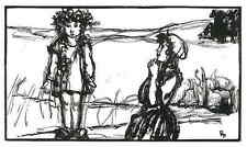 Anbetungswürdiges flores niño-Émilien Dufour-original corte de madera 1927