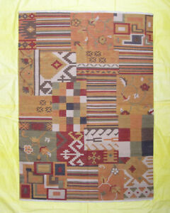 Patchwork Afghan Rugs Living Room Home Geometric Gold 6x8 Kilim Porch Carpet