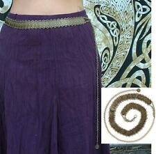 Antiqued Gold Pewter Coin & Chain Hip Belt Belly Dance Rave Wear fnt