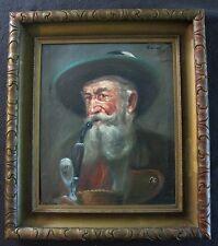 Antique Vintage 1902 German Portrait Old Man w Pipe Oil Painting signed Piosset