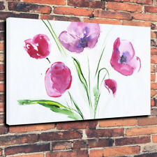 """Pink Flowers Printed Canvas Picture A1.30""""x20"""" 30mm Deep, Wall Art Watercolour"""