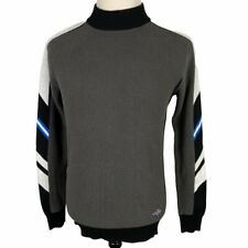 G Star Raw Sweater Pullover Shirt Large Black Gray Blue White 1989 Mock Turtle