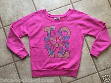 Signorelli Girls Long Sleeve Pink Beaded Love Size XL 14 Light Fleece Inside