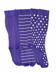 Legacy Women's Stripe & Dot Compression Socks Set of 3 Lilac Medium/Large Size
