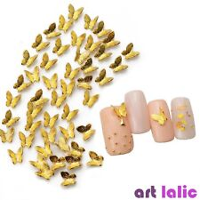 10Pcs Nail Art 3D Metal Glitter Butterfly Decoration Golden Alloy Jewelry UV Gel
