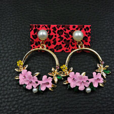 Betsey Johnson Fashion Woman Alloy Rhinestone Enamel Flowers Pearl Earring Jewel