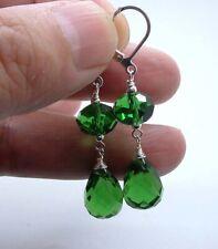 Gorgeous Emerald Green Quartz Sterling Silver Earrings A0410