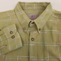 Territory Ahead Mens Button Up Shirt Size XL Long Sleeve Plaid Green Pink Blue