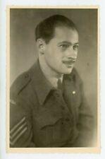 Portrait of WW2 Canadian Army Sergeant somewhere Overseas Real Photo Postcard