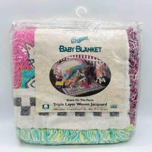 """New Beacon """"Down on the Farm"""" Baby Blanket Triple Layer Woven Jacquard Fringed"""