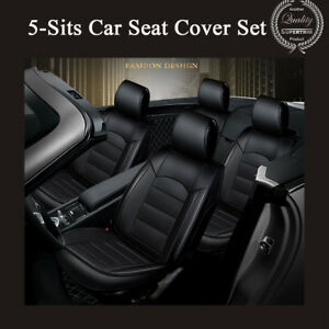 Universal Breathable 5-seat Front & Rear PU Leather Seat Cover For Car Auto SUV