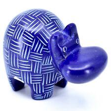 Tabaka Chigware Hand Carved Kisii Soapstone Dark Blue Hippopotamus Hippo Figure