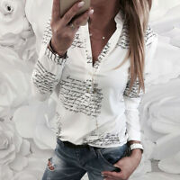Women V Neck T-Shirt Letters Print Button Long Sleeve Casual Tunic Tops Blouse