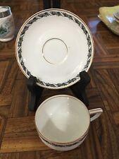 Rosenthal Selb Bavaria Demitasse Cup & Saucer Black Floral Ribbon w/Gold Trim