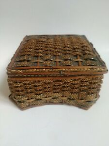 "Antique Victorian Original Green & Tan Wicker Sewing Basket 6.5"" x 6.5"" x 4"""