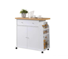 New listing Contemporary Wooden Kitchen Cart with 3-Shelf Spice Rack Wheels in White Finish