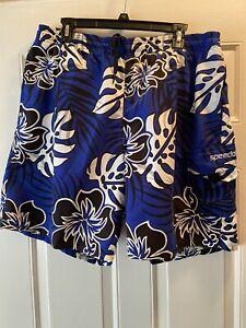 Speedo Men's Sz L Board/Swim Floral Trunks Black/blue/white