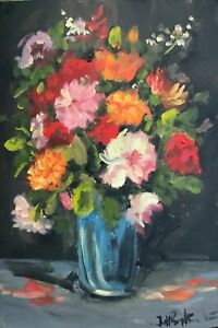 A3 print of Original oil painting art floral summer flowers vase shabby chic