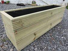 1.2 m Extra large deep wooden decking garden planter Stainless screws Oak plugs