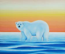 Original painting on canvas of polar bear by Australian artist Cliff Howard