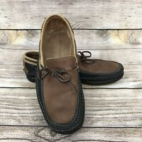 J&M Johnston Murphy Men's Shoes Moccasin Loafers Size 8.5M Brown & Black Leather