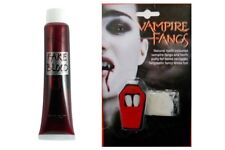 Vampire Fangs & Fake Blood Kit Horror Halloween Fancy Dress Make Up Theatrical