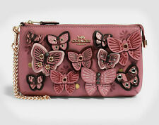 Coach Large Wristlet With Butterfly Applique Rose/Multi NWT