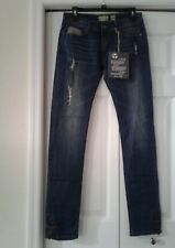 New Reuse Women's Recycled Cotton Distressed Jeans, Sides Ankle Zip Size 28×34 L