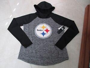 NEW NFL Pittsburgh Steelers Pullover Hoodie Womens Medium Gray/Black $64.99