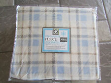 NEW KING FLEECE SHEET SET KING FITTED SET BLUE WHITE PLAID HEAVY LIVING QUARTERS