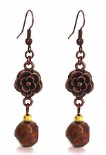 Dangle Beaded Fashion Earrings Brown Agate & Antiqued Copper Grace Of New York