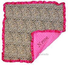 Personalized Baby Girl Hot Pink Leopard Minky Dots Stroller Blanket