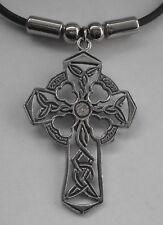 Choker #1341 CELTIC FILIGREE CROSS (46mm x 29mm) Rubber Necklace Unisex PENDANT