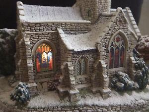 "Liliput Lane Light Up Church.""Lead Kindly Light in Winter"".Plaster.2002."
