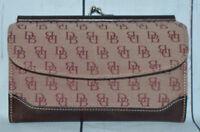 Dooney & Bourke Burgundy Brown Leather Fabric Clutch Wallet Coin Purse Vintage