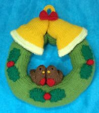 KNITTING PATTERN - Christmas Wreath Hanging Decoration 22 cms - Robin and Bells