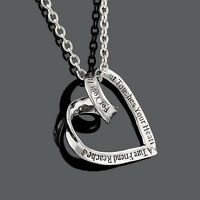 Personalised Silver Heart Charm Necklace - Solid Letter Engraved Ture Friend New