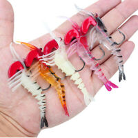5pcs High-quality Artificial Glow Prawn Fishing Lures Jointed Shrimp 5colors