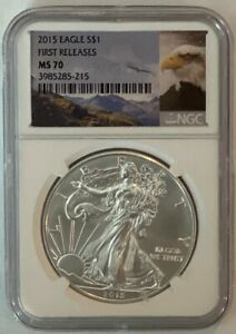 2015 1oz Silver Eagle NGC MS70 - First Release FREE SHIP  #22