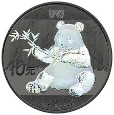 2017 30 Grams SILVER HOLOGRAM PANDA Coin WITH 24K RUTHENIUM, Blister And Coa.