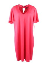 Distinctive Collections Women Dress Plus OX Pink Shift Short Sleeve Knee $74 New