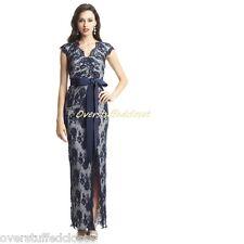 NWT$529 Tadashi shoji Cap Sleeve V-Neck Lace Pattern Navy/Silver Gown 6
