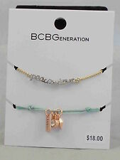 BCBG Generation Gold Peace Love Green Thread Charm Friendship Bracelet 2 PC Set