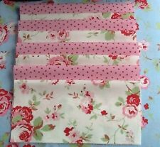 8 Cath Kidston Fabric Material 25 X 25cms White Rose & Pink Spot Quilting Sewing